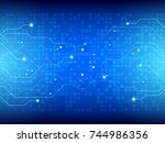 abstract blue technology... | Shutterstock .eps vector #744986356