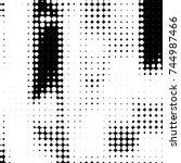 grunge halftone black and white ... | Shutterstock .eps vector #744987466