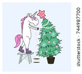 unicorn decorate christmas tree | Shutterstock .eps vector #744987700