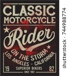 vintage bikers graphics and... | Shutterstock .eps vector #744988774