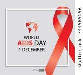 world aids day symbol.1st... | Shutterstock .eps vector #744989596