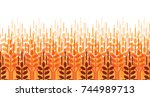 wheat ears seamless pattern.... | Shutterstock .eps vector #744989713
