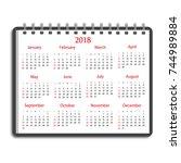 calendar 2018 year on notebook | Shutterstock .eps vector #744989884