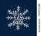 winter sale lettering. hand... | Shutterstock .eps vector #744991288