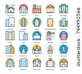 buildings vector icons set   | Shutterstock .eps vector #744992566