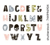 creative decorative alphabet... | Shutterstock .eps vector #744996904