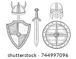 warrior weapons   old medieval... | Shutterstock .eps vector #744997096