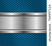 blue metal perforated texture... | Shutterstock .eps vector #744997114