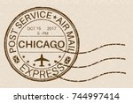 new york brown round postmark... | Shutterstock .eps vector #744997414