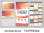 website template  one page... | Shutterstock .eps vector #744998386