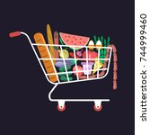 supermarket cart with various... | Shutterstock . vector #744999460