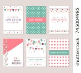 set of birthday greeting cards... | Shutterstock .eps vector #745004983