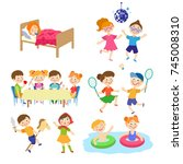 kids  boys and girl spending... | Shutterstock .eps vector #745008310