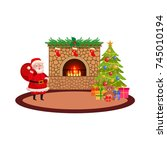 vector flat christmas holiday... | Shutterstock .eps vector #745010194