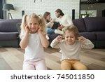 little children boy and girl... | Shutterstock . vector #745011850