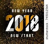 2018   calligraphic new year... | Shutterstock .eps vector #745012564