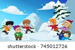 in the winter  kids play in the ... | Shutterstock .eps vector #745012726