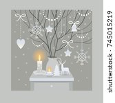 christmas and new year... | Shutterstock .eps vector #745015219