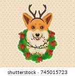 corgi head in deer antler... | Shutterstock .eps vector #745015723