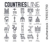 country travel collection set.... | Shutterstock .eps vector #745015750