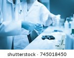the scientists injected...   Shutterstock . vector #745018450