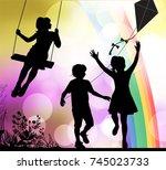 summer  playground  painted...   Shutterstock .eps vector #745023733