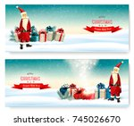 two holiday christmas banners... | Shutterstock .eps vector #745026670