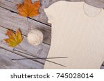 needles  yarn and finished... | Shutterstock . vector #745028014