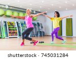 two happy female fitness models ... | Shutterstock . vector #745031284