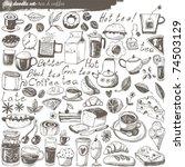 big vector set   kitchen   food   Shutterstock .eps vector #74503129