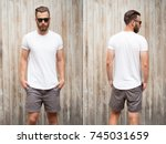 front and back view of a... | Shutterstock . vector #745031659