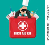 medical first aid kit with... | Shutterstock .eps vector #745031794