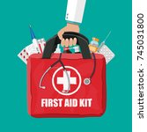 medical first aid kit with... | Shutterstock .eps vector #745031800