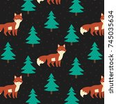 pattern with cute foxes and... | Shutterstock .eps vector #745035634