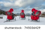 rear view of three snow cannons ... | Shutterstock . vector #745036429