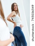portrait of beautiful young...   Shutterstock . vector #745036549