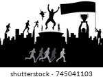 champ and cheering crowd.  | Shutterstock .eps vector #745041103