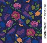 sturnus vulgaris  erithacus... | Shutterstock .eps vector #745045840
