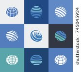 simple set of globe earth icons.... | Shutterstock .eps vector #745045924