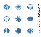 simple set of globe earth icons.... | Shutterstock .eps vector #745046029
