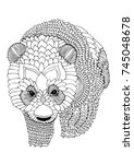 panda bear. hand drawn picture. ... | Shutterstock .eps vector #745048678