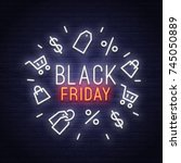 black friday neon sign. sale... | Shutterstock .eps vector #745050889