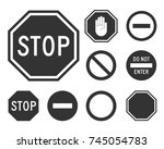stop road sign set. warning... | Shutterstock .eps vector #745054783