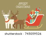 christmas reindeer with collar... | Shutterstock .eps vector #745059526