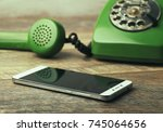 old green vintage telephone vs... | Shutterstock . vector #745064656