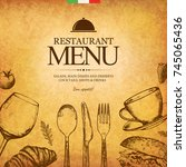 restaurant menu design. vector... | Shutterstock .eps vector #745065436