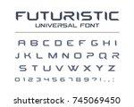 futuristic universal font.... | Shutterstock .eps vector #745069450