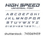 high speed universal font. fast ... | Shutterstock .eps vector #745069459
