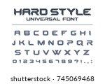 hard style universal font.... | Shutterstock .eps vector #745069468