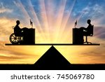 silhouette of a worker disabled ... | Shutterstock . vector #745069780